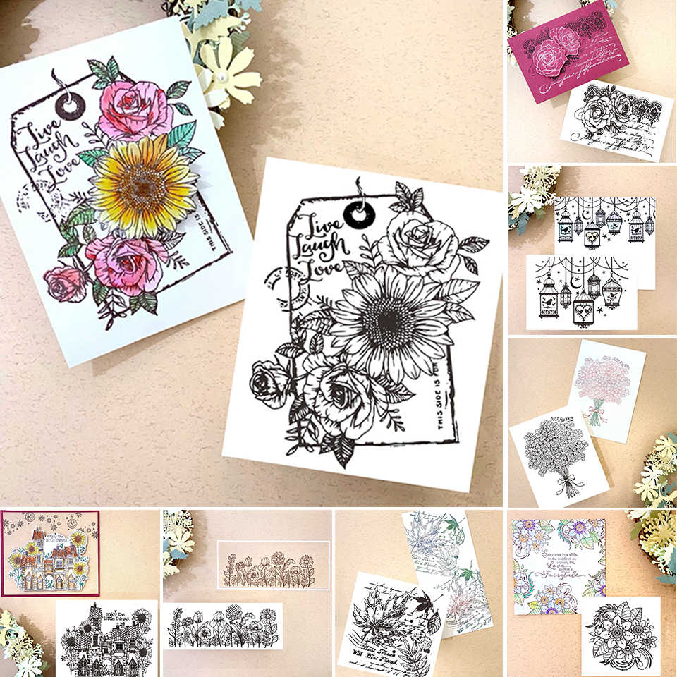 Clear Folower Stamp Set Floral Rubber Stamps For Bullet Journal Scrapbooking