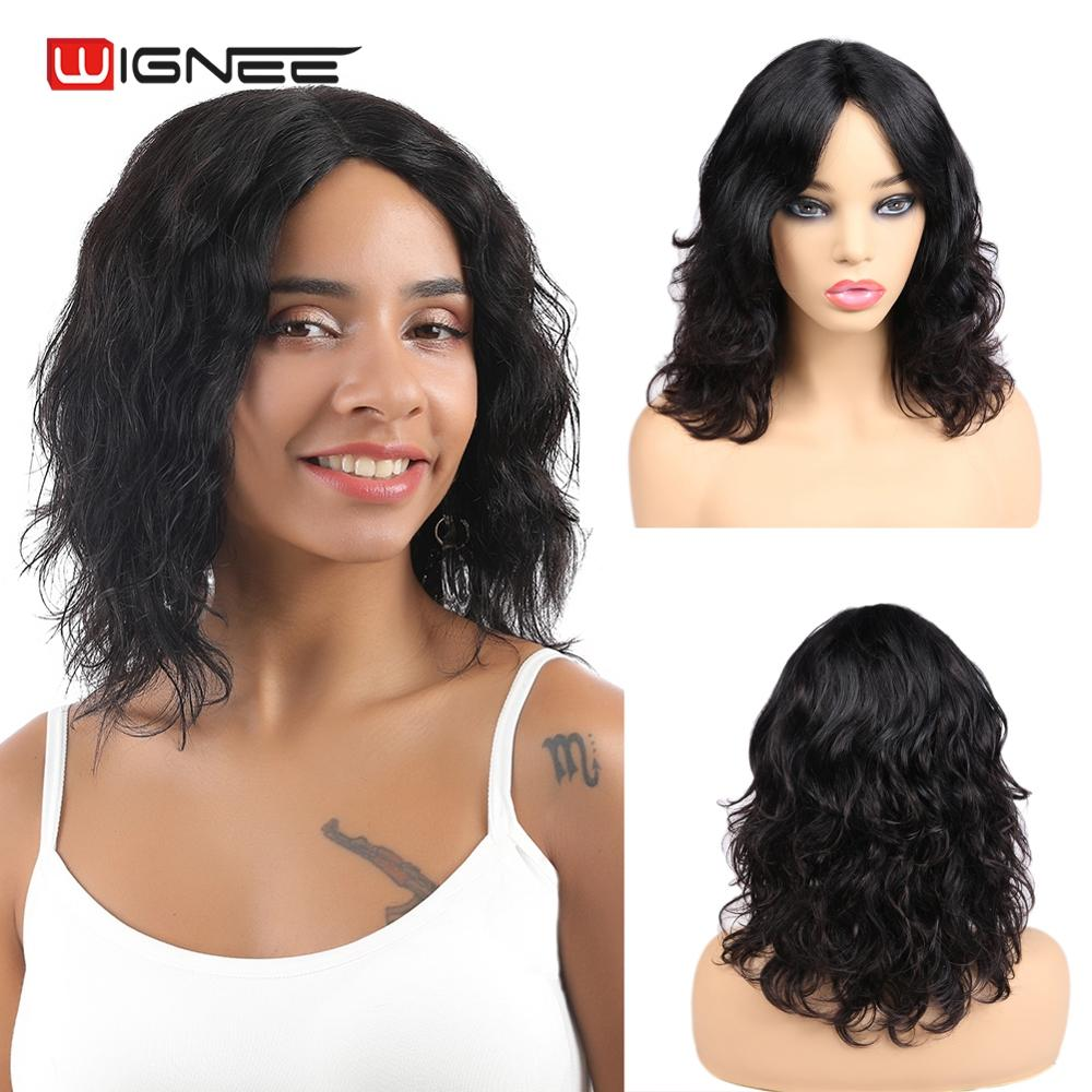 Wignee Natural Wave Short Human Hair Wig For Black/White Women 150% Density Remy Hair Glueless Lace Part Human Wig Free Shipping