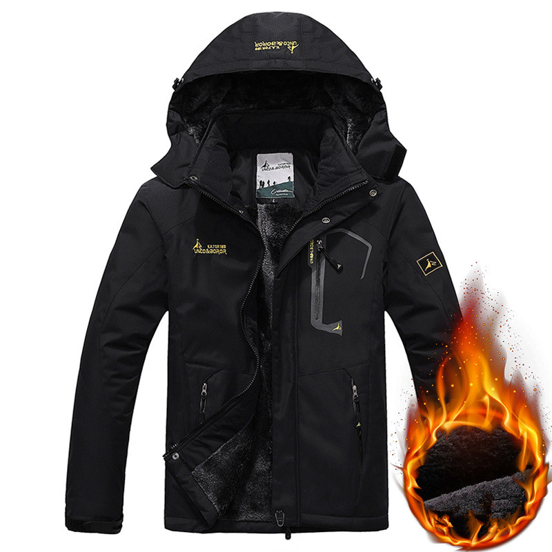 Men's Winter Fleece Jacket Thick Coat Velvet Waterproof Windbreaker Down Jackets Male Military Hooded Thermal Coat Plus Size 6XL