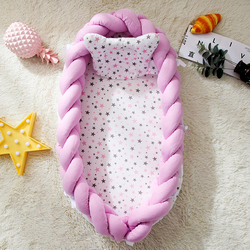 Baby Bed Portable Crib Baby Nest Cot Kids Cradle Bed Weaving Bumper Crib for Newborn Safe Room Decor  YHM045