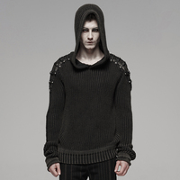 PUNK RAVE Men Punk Rock Black Sweaters Decadent Steampunk Retro Design Sweater Male Fashion Streetwear Pullovers