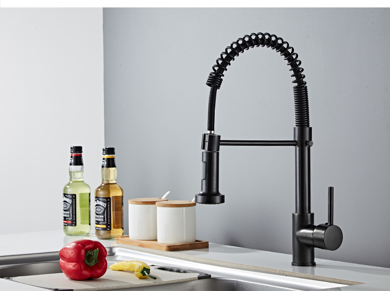 H431ccd60df7442d28d389db3f939691aq Deck Mounted Flexible Kitchen Faucets Pull Out Mixer Tap Black Hot Cold Kitchen Faucet Spring Style with Spray Mixers Taps E9009