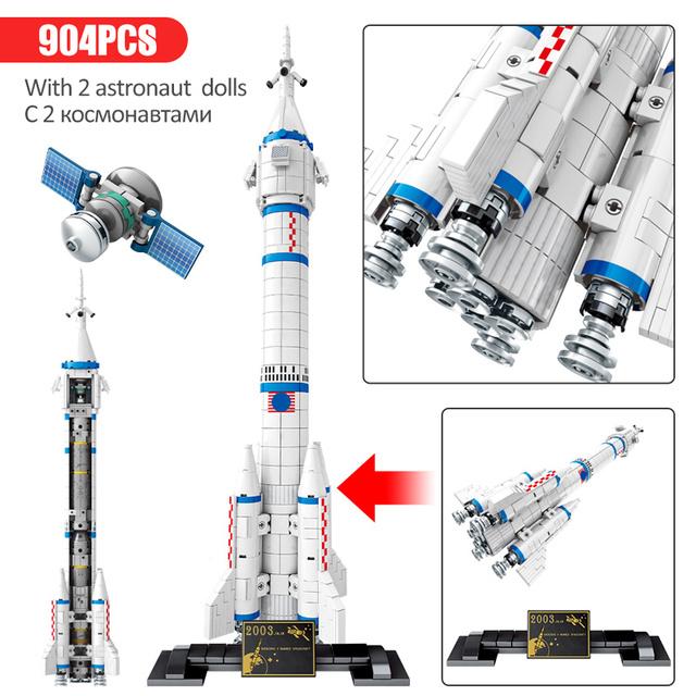 New City Technic Aviation Rocket Building Blocks Creator Artificial Satellite Space Launcher Cosmonaut Figures Bricks Kids Toys