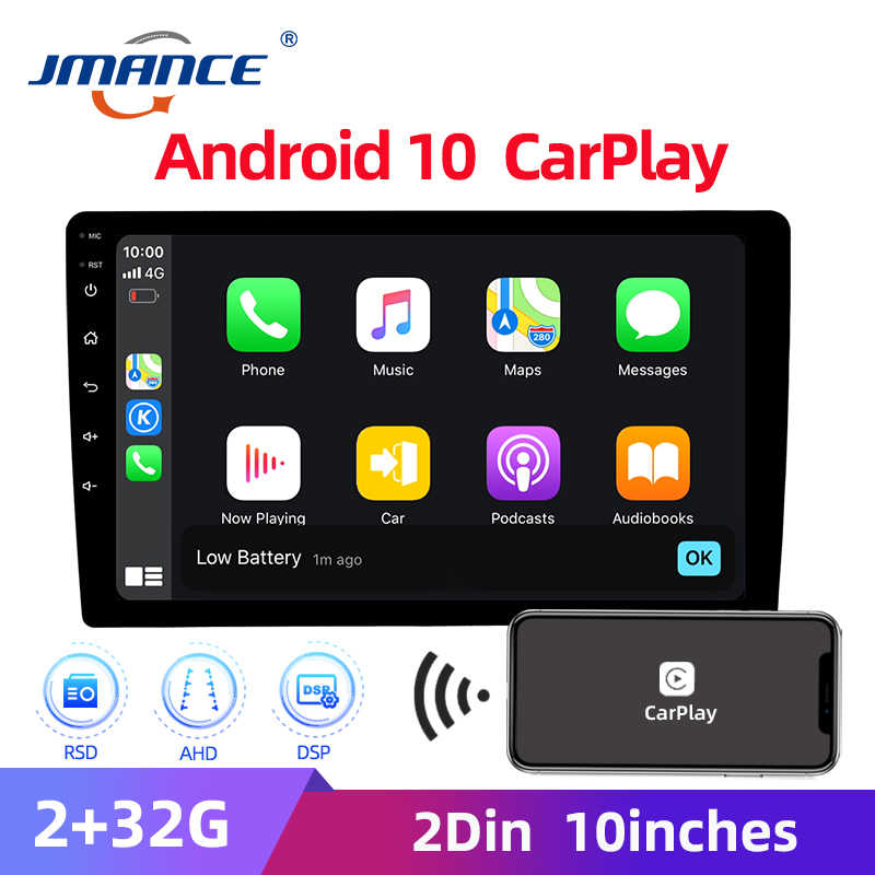 Jmance 2din Ahd Carplay Android 10 Autoradio 2.5D 10 ''Maltimedia Stereo Dsp & Rds 2Gb + 32gb Auto Dvd-speler Voor Android/Ios