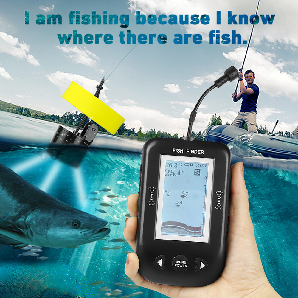 XF02 Fishfinder Portable Sonar Fish Finder 100M Depth Dectection Fishing Lure Lake Sea Fishing Alarm Echo Sounder Fishing Finder