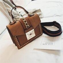 Handtas Mode Kleine Schoudertassen Voor Vrouwen 2020 Pu Leather Crossbody Bag Hoge Kwaliteit Dames Hand Tas Keten Klinknagel Decoratie