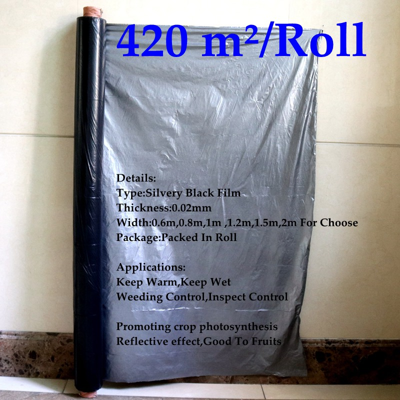 Wholesale 420m²/Roll 0.02mm Silver Black Reflective Mulch Film Agricultral PE Plastic Film Promoting Plants Grow Photosynthesis
