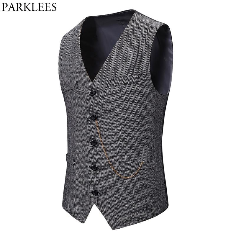 Gray Herringbone Woolen Dress Vests Men Single Breasted Chain Decoration Gentleman Formal Waistcoat Mens Tuxedo Dress Vest Male