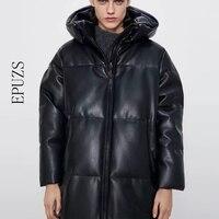 Winter mantel Mit Kapuze Padded PU parka frauen Faux leder unten jacke weibliche lose zipper mantel lässige warme lange mäntel 2020