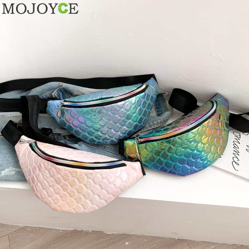 Fashion PU Leather Women Fanny Chest Pack Fish Scale Laser Phone Purse Colorful Crossbody Shoulder Bag