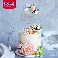 Conception originale fleurs artificielles fer acrylique décoration de gâteau pour mariage fête d'anniversaire décoration cuisson Suplies
