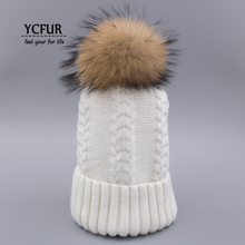 YCFUR Classic Style Large Size Fur Pompon Hat Cap for Women Knitted Wool Hat Beanie Female Soft Warm Winter Hats Caps free shopping 2016 fashion wool winter hats for women winter cap thickening thermal knitted hat female caps