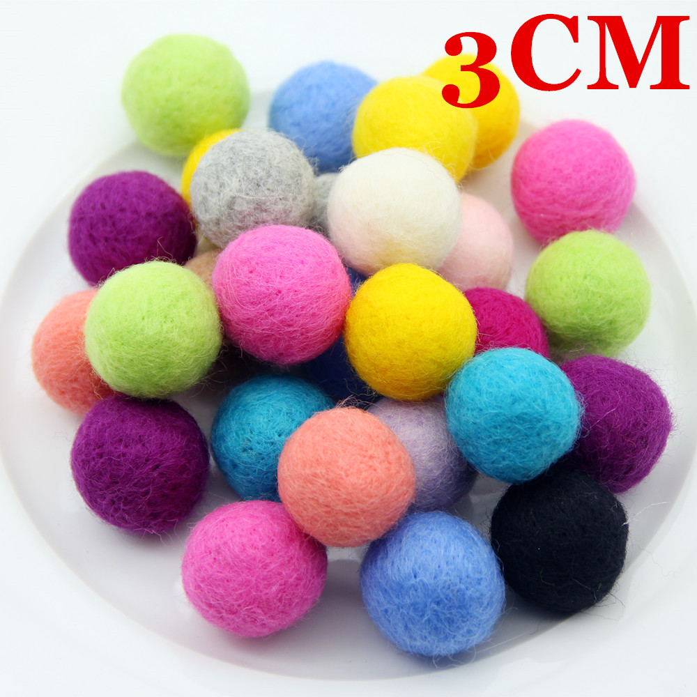 5PCS 3CM 100% Wool Felt Balls Round Pompoms For Girls DIY Room Home Craft Supplies Wedding Party Decoration Colorful Felt Balls