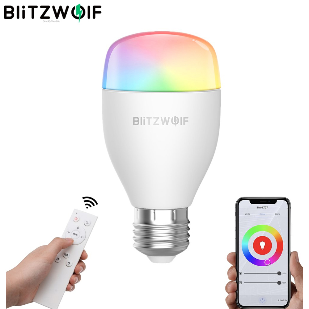BlitzWolf Wifi Smart LED Light AC100-240V RGBWW+CW 9W E27 APP Smart LED Bulb Work With Alexa Google Assistant+IR Remote Control