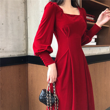 Spring Dress Women Casual Red And Black Square Collar Dresses