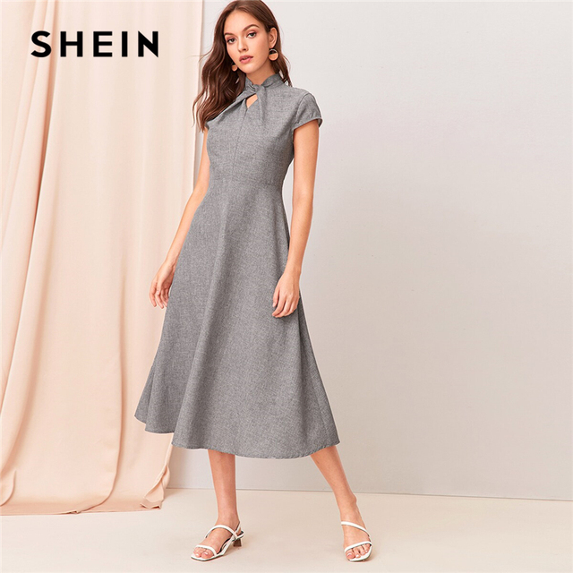 SHEIN Grey Cut out Twist Front Cap Sleeve Flare Long Dress Women Summer Stand Collar Zipper Back Elegant Empire A Line Dresses
