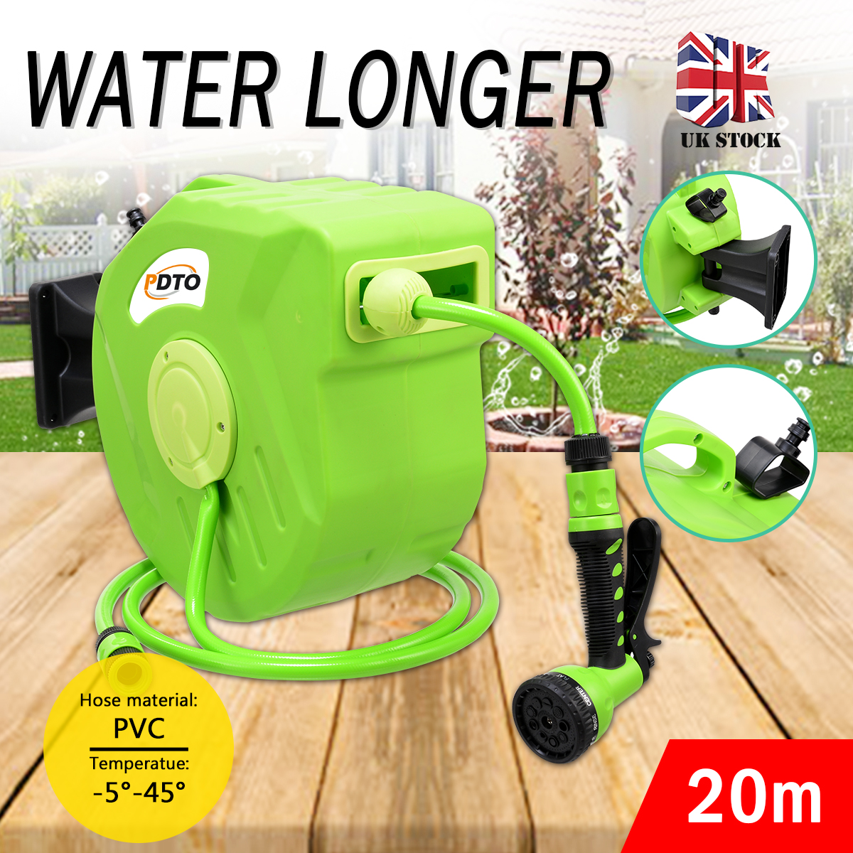 20M Automatic Rewind Garden Water Hose Reel Retractable Wall-Mounted Outdoor Spray Water Garden Watering Tool Car Washer Tools