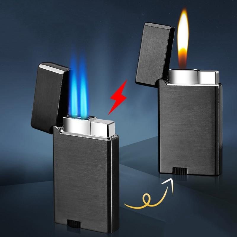 Criativo portátil metal isqueiros à prova de vento isqueiro gás dupla tocha fogo aberto chama cigarro isqueiro charuto butano isqueiros