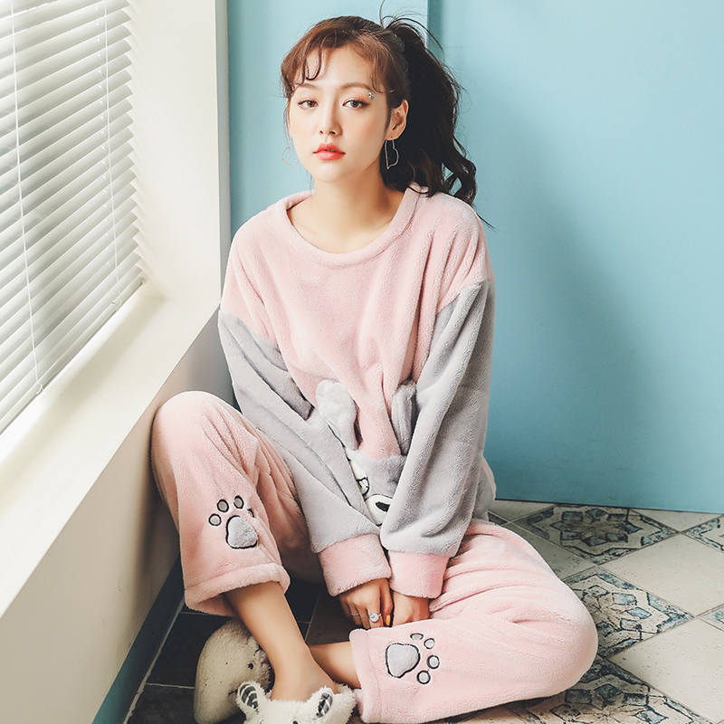Long Sleeve Warm Flannel Pajamas Winter Women Pajama Sets Print Thicken Sleepwear Pyjamas Plus Size 3XL 4XL 5XL 85kg Nightwear 273