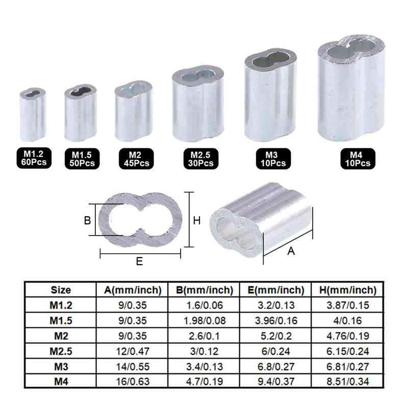 New 250Pcs Wire Rope Cable Thimbles Combo And Aluminum Crimping Loop Sleeve Assortment Kit For Wire Rope Cable Thimbles Rigging