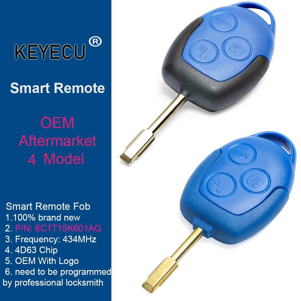 KEYECU (2 модели) 433 МГц 4D63 OEM/Замена дистанционного ключа 3 кнопки для Ford Transit WM VM 2006-2014 6C1T15K601AG