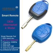 Keyecu (2 modelos) 433mhz 4d63 oem/substituição remoto chave 3 botão para ford transit wm vm 2006-2014 6c1t15k601ag