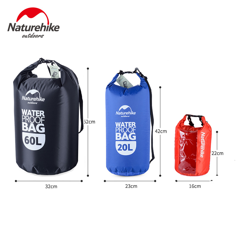 NatureHike Waterproof Bag 5/60L Big Capacity Portable Ultralight Wet And Dry Separation Bag Swimming Rafting Seal Storage Bag