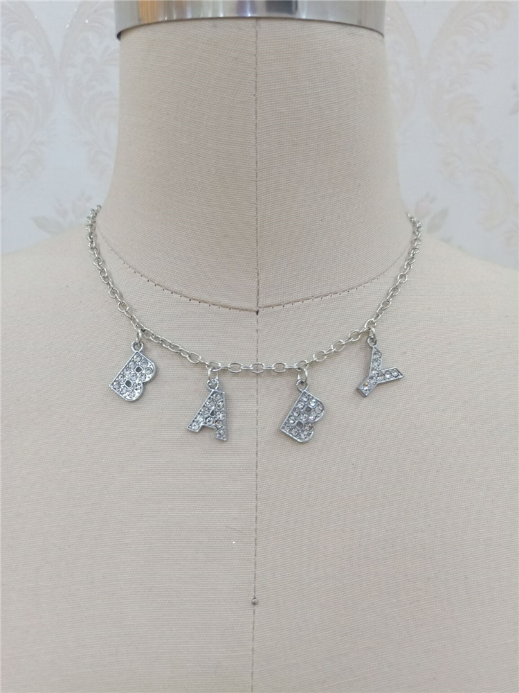 H431e57b1283143a3995d595028eafc49i - Harajuku Letter Crystal Angel Necklace Women Jewelry Couple Gift Necklace BABY HONEY Choker Femme Punk Collier Drop Ship
