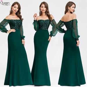 Платья для выпускного бала размера плюс с блестками, Длинные вечерние платья в полоску с длинными рукавами и открытыми плечами, расшитые па...