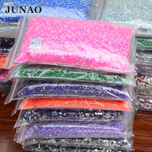 JUNAO 2mm 3mm 4mm 5mm 6mm Jelly Rose AB Wholesale Rhinestone Flatback Round Crystals Nail Stones Non Hot Fix Strass Appliques