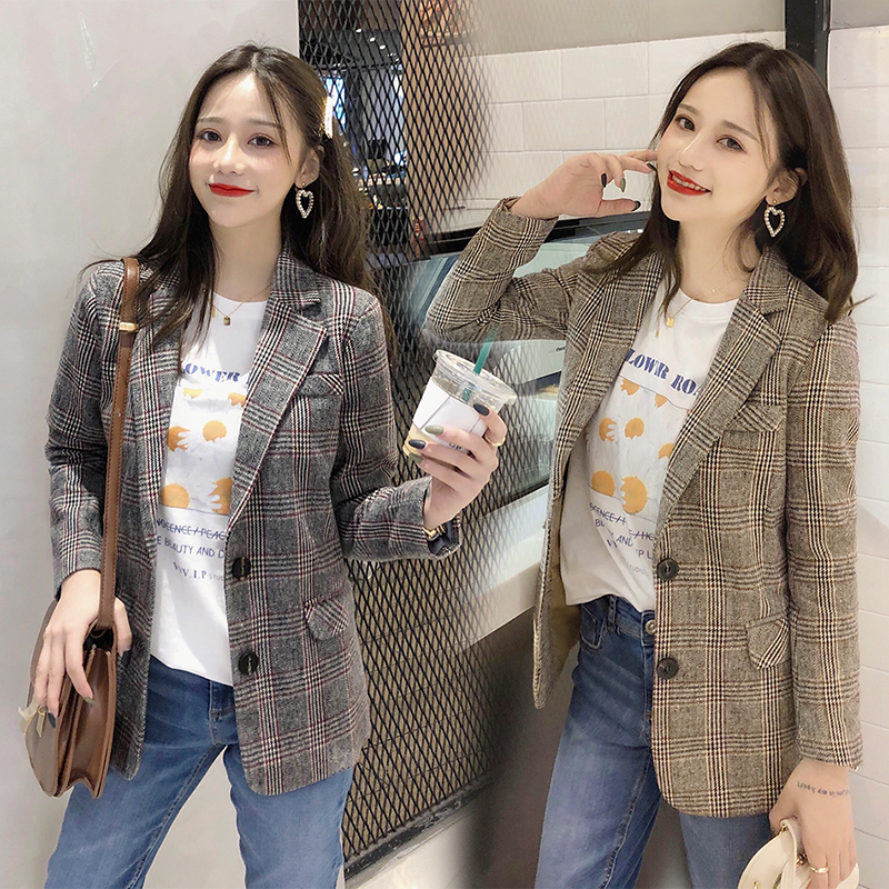 England Vintage Style Blazers And Jackets Autumn Women Notched Collar Single Breasted Long Sleeve Plaid Blazer Outwear