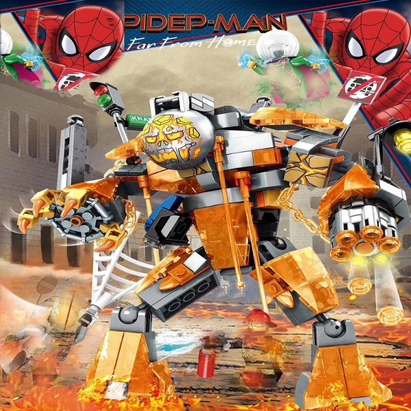 314pcs Novo 2019 Marvel Avengers Super Heroes Série Spiderman Homem Fundido Batalha 76128 Kit De Construção Blocos de Construção de Tijolos Brinquedos