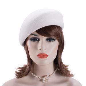 Image 2 - Women Vintage Look 100% Wool Felt Tilt Winter Beret Hats Pillbox Fascinator Saucer Tilt Cap Formal Dressy A468