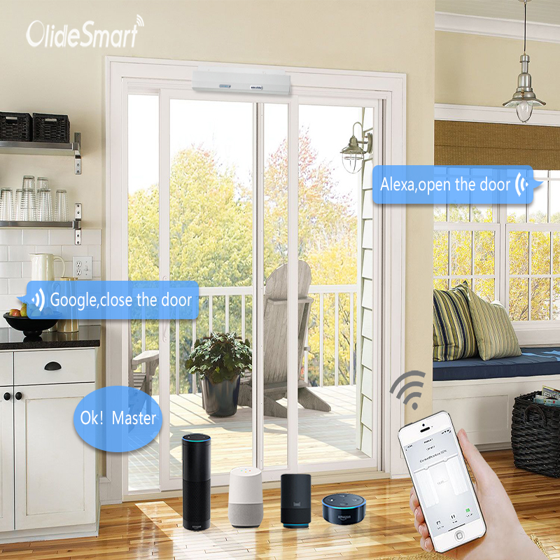 Olide Smart Phone App Control Electric Residential Door Opener With Wired WIFI Access Exit Button