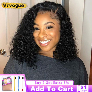 Bob Wig Human Hair Brazilian 4x4 Closure Wig Natural Hairline Kinky Curly Lace Wig Bleached Knots 150% Density Remy Hair Vrvogue
