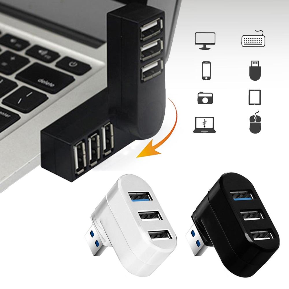 1Pc Mini Rotatable 3 Port USB 3.0 Hub High Speed Data Transfer Splitter Box Adapter For PC Laptop MacBook Pro Computer Accessory