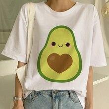 Kawaii Cartoon T-shirt Women Avocado Short Sleeve Tshirt Casual Avocado Graphic