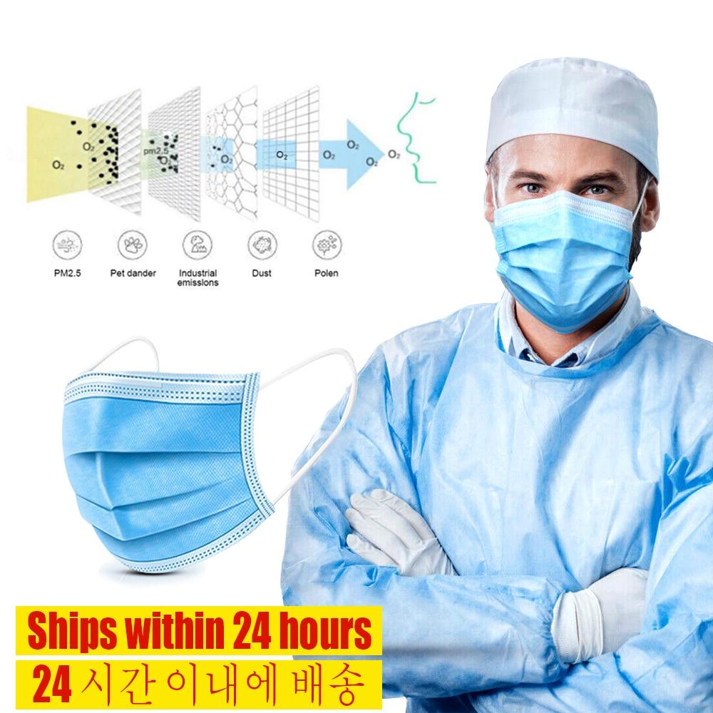 20pcs Antivirus Masks 3 Layer Anti-Dust Cozy Qualified Masque Disposable Face Mask Prevent Virus Safe Protective Mask