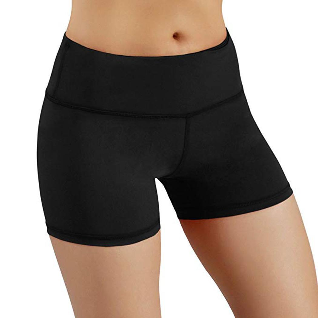 Sports-Shorts Womens New Elastic-Waist Comfortable Black Summer Solid Fashion Casual title=