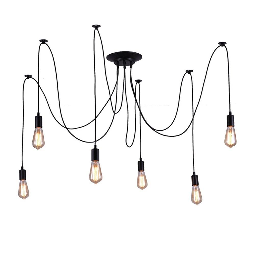Retro Spider Pendant Light Holder 220v E27 8head 10head 12head DIY Hanging Lamp Shade Dining Room Hotel Decoration