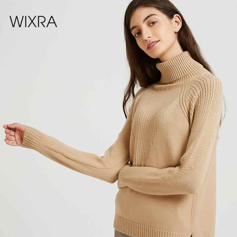 Wixra Women Casual Sweaters And Pullovers Thick Warm 2019 Autumn Winter Soft Turtleneck Solid Knitted Sweater