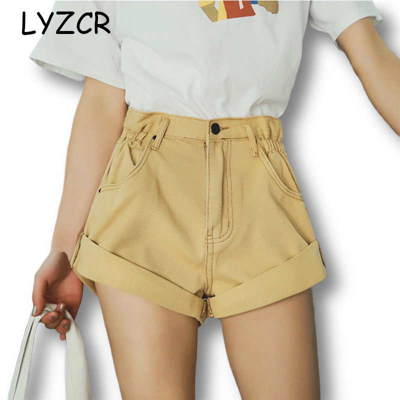LYZCR High Waist Denim Shorts Women Loose Wide Leg Women's Shorts Jeans Feminina Denim White Jeans Short For Women Summer 2020