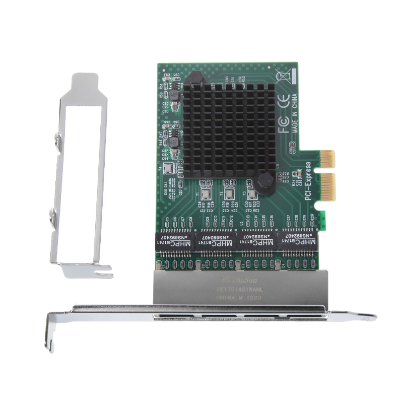 PCIe PCI Express 10/100/1000M to 4 Port 4x Gigabit Card Ethernet Network Adapter 6