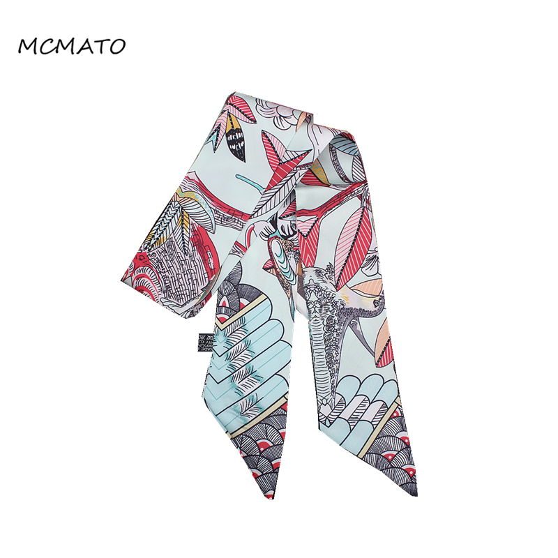 2020 New Design Feather Bird Leaves Print Woman Silk Scarf Brand Bag Ribbons Fashion Head Scarf Small Long Scarves Headband