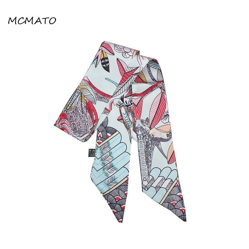 2020 New Design Feather Bird Leaves Print Woman Silk Scarf Brand Bag Ribbons Fashion Head Scarf Small Long Scarves Headband