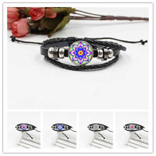 High quality mandala crystal glass bracelet woven leather gift jewelry accessories