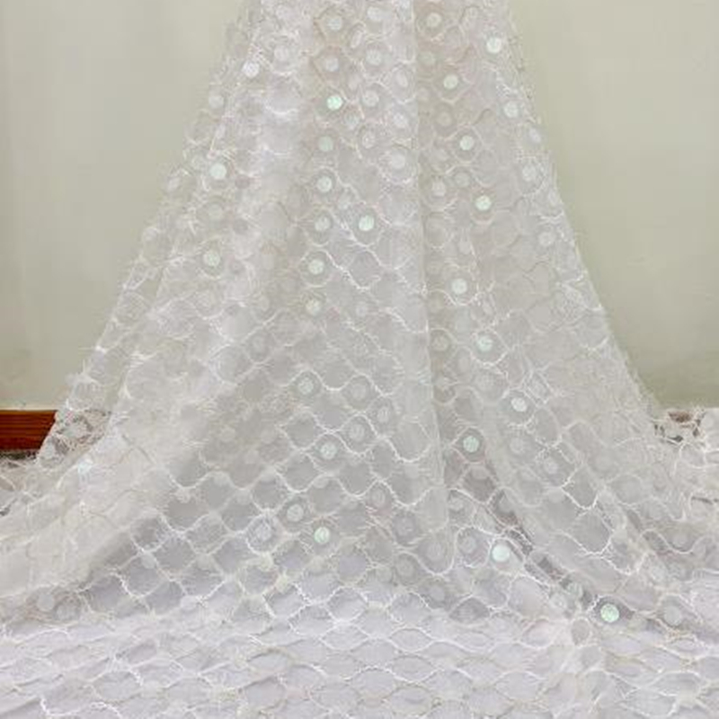 White Color High Quality African Lace Fabric With Sequins 2020 Latest French Wedding Lace Fabric For Decoration Sewing Dress