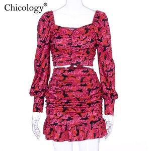 Image 5 - Chicology 2019 elegancki kwiatowy ruched 2 dwuczęściowy zestaw kobiet puff z długim rękawem krótki top wysokiej talii mini spódnica jesień zima ubrania