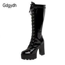Gdgydh Patent Leder Weiß Kniehohe Stiefel Lace Up Damen Plattform Stiefel High Heels Mode Nachtclub Patry Schuhe Großhandel