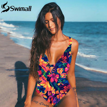 2020 Sexy Print Floral One Piece Swimwear Women Push Up Monokini Swimsuit maillot de bain femme Bathing Suit traje de baño mujer(China)